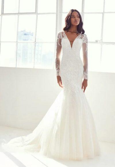 Long Sleeve V-neck Wedding Dress by Pronovias