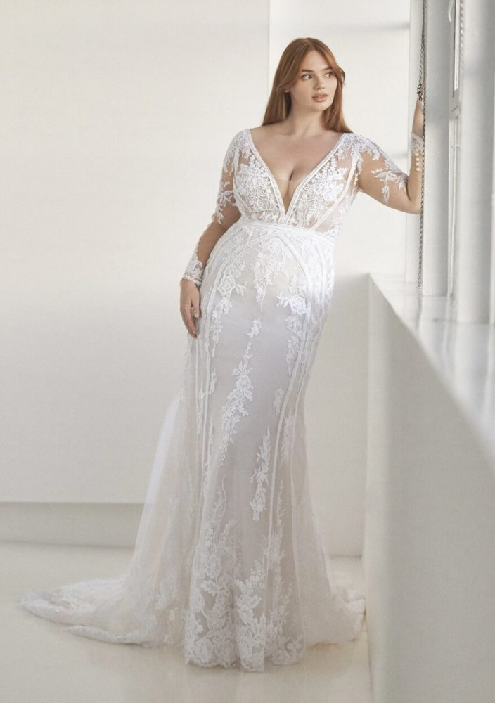 Long Sleeve V-neckline Fitted Wedding Dress by Pronovias - Image 1