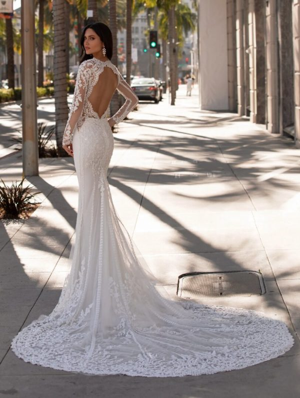 Mermaid Wedding Dress With Long Sleeves In Crepe by Pronovias - Image 2