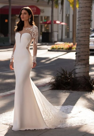 Mermaid Wedding Dress With Long Sleeves In Crepe by Pronovias