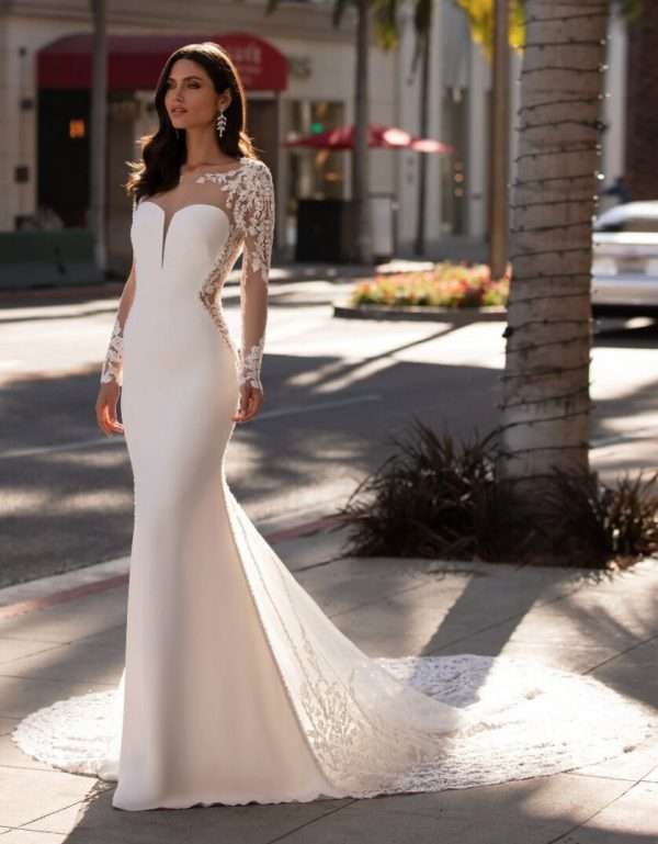 Mermaid Wedding Dress With Long Sleeves In Crepe by Pronovias - Image 1