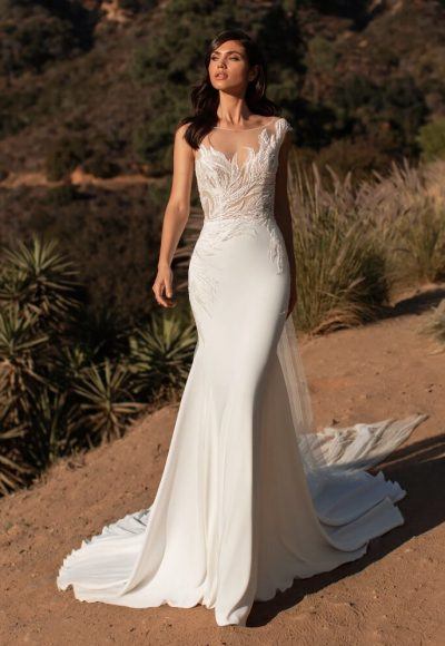 Sleeveless Crepe Mermaid Wedding Dress by Pronovias