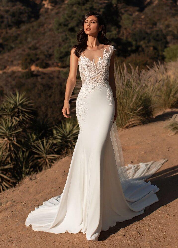 Sleeveless Crepe Mermaid Wedding Dress by Pronovias - Image 1