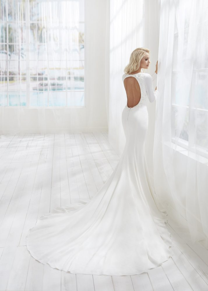 Fitted Simple Long Sleeve Wedding Dress With Open Back by Randy Fenoli - Image 2