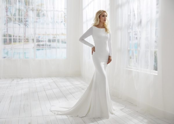 Fitted Simple Long Sleeve Wedding Dress With Open Back by Randy Fenoli - Image 1