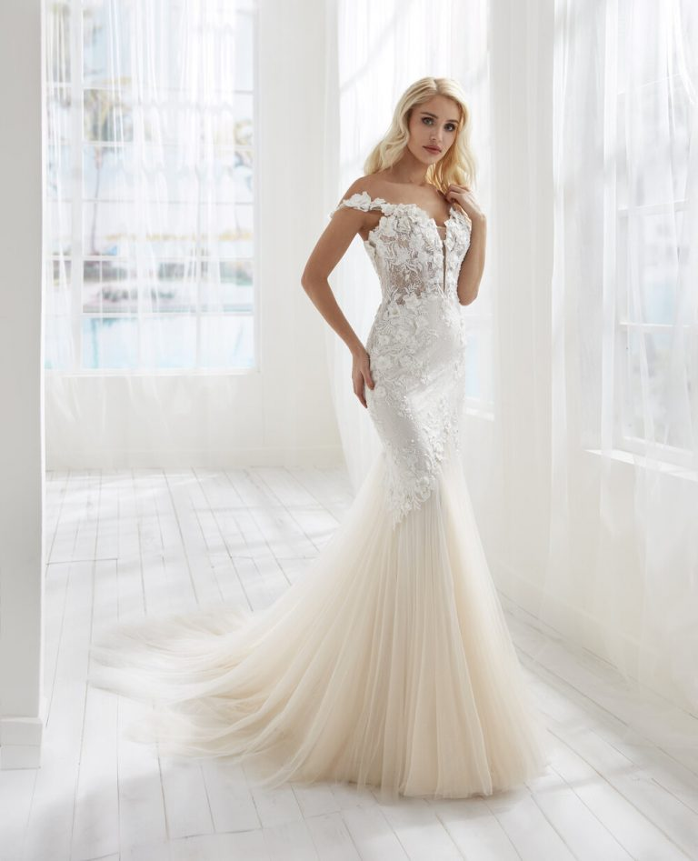 Mermaid Embroidered Wedding Dress