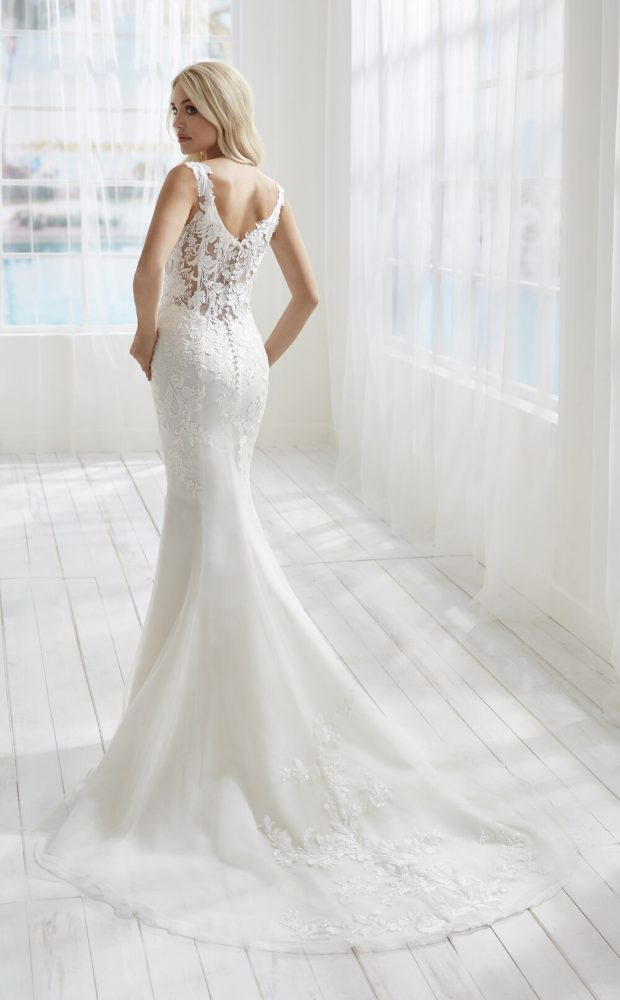 Sleeveless Fit And Flare Wedding Dress With Sheer Bodice by Randy Fenoli - Image 2