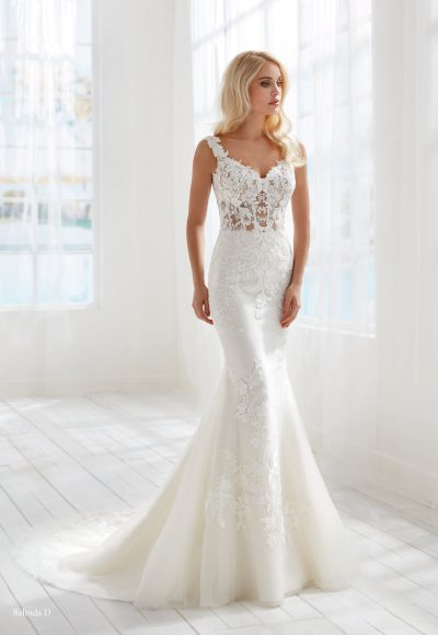 Sleeveless Fit And Flare Wedding Dress With Sheer Bodice by Randy Fenoli