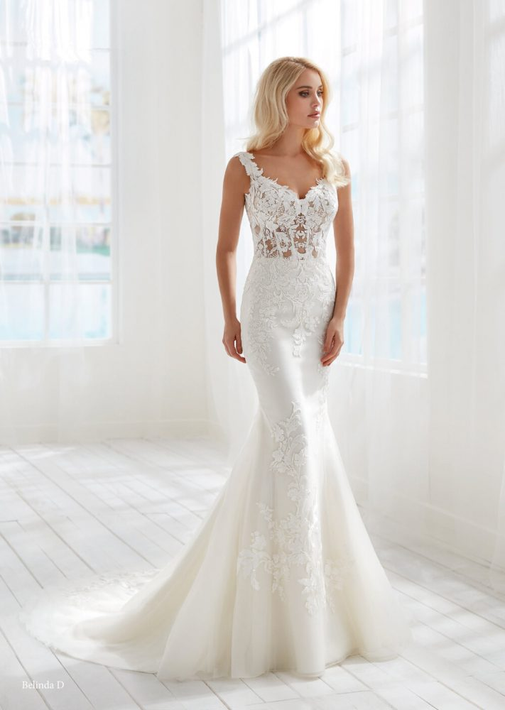 Sleeveless Fit And Flare Wedding Dress With Sheer Bodice by Randy Fenoli - Image 1