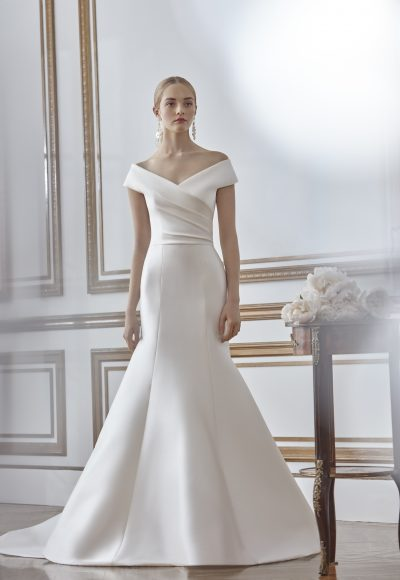 Off The Shoulder Draped Fit And Flare Wedding Dress by Sareh Nouri