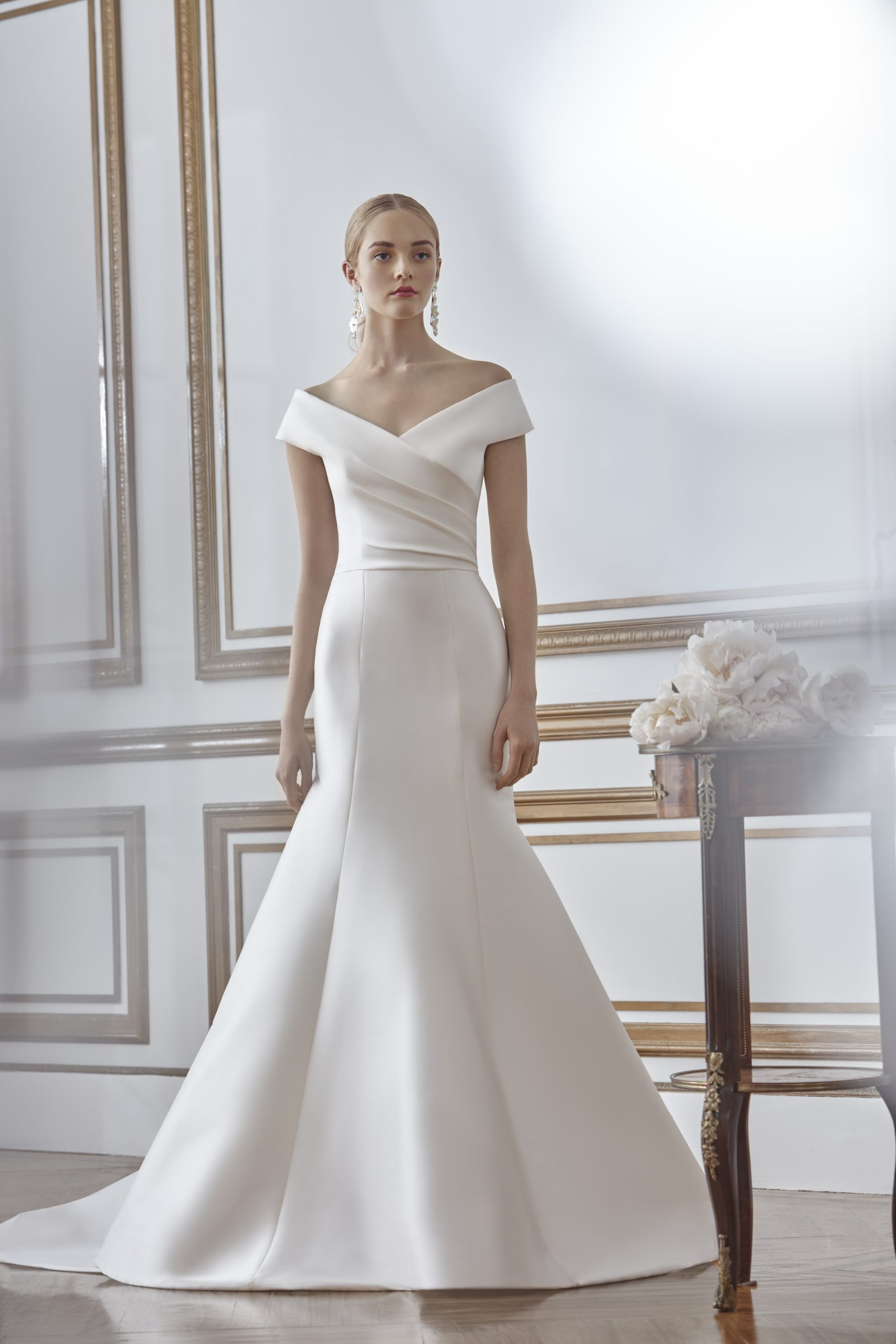 Off The Shoulder Draped Fit And Flare Wedding Dress Kleinfeld Bridal