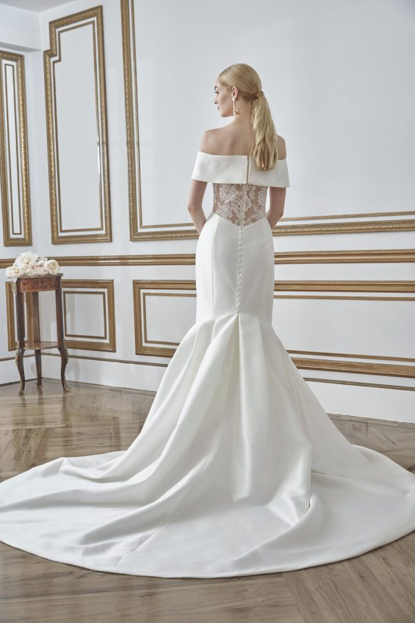 Off The Shoulder Simple Fit And Flare Wedding Dress by Sareh Nouri - Image 2