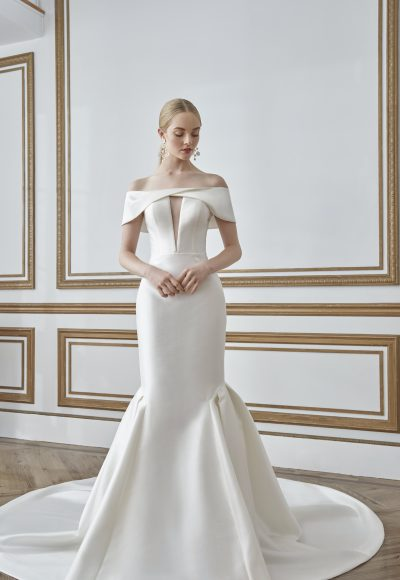 Off The Shoulder Simple Fit And Flare Wedding Dress by Sareh Nouri