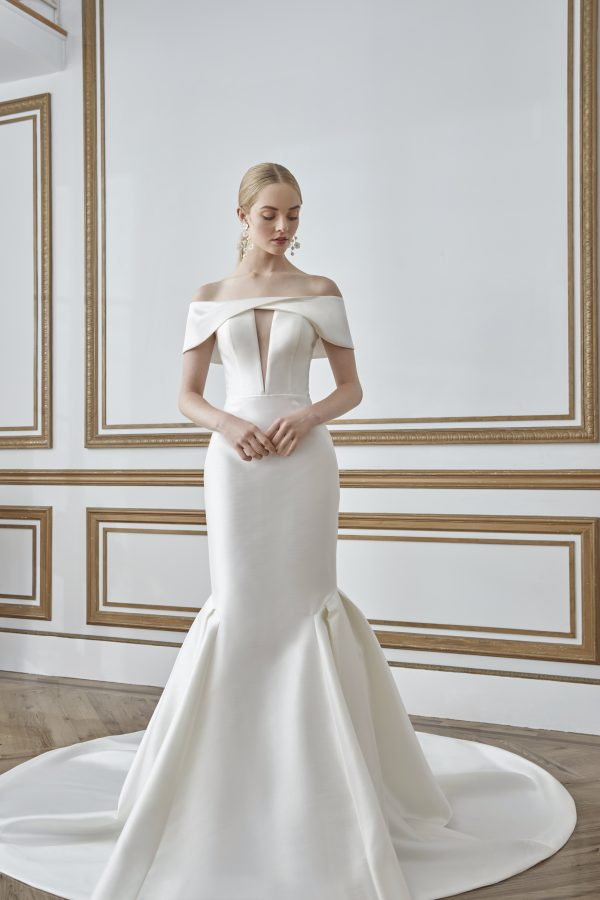 Off The Shoulder Simple Fit And Flare Wedding Dress by Sareh Nouri - Image 1