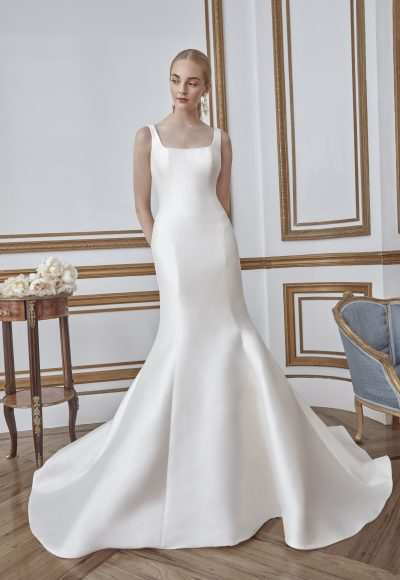 Simple Sleeveless Fit And Flare Mikado Wedding Dress by Sareh Nouri
