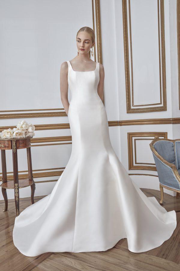 Simple Sleeveless Fit And Flare Mikado Wedding Dress by Sareh Nouri - Image 1
