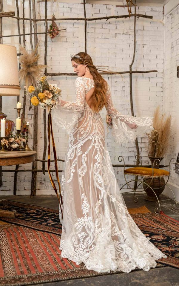 GYPSY INSPIRED WEDDING DRESS WITH FLARED BELL SLEEVES by All Who Wander - Image 2
