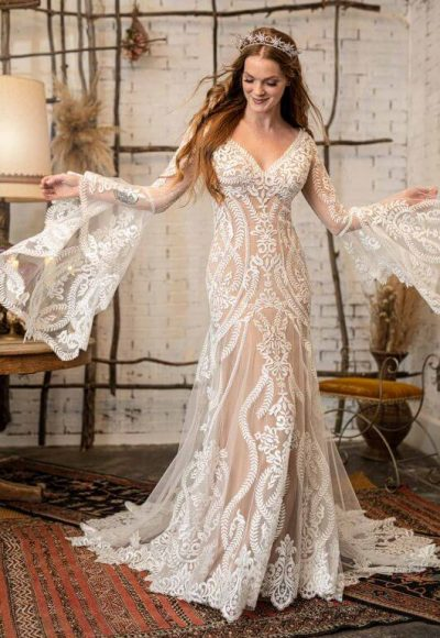 GYPSY INSPIRED WEDDING DRESS WITH FLARED BELL SLEEVES by All Who Wander