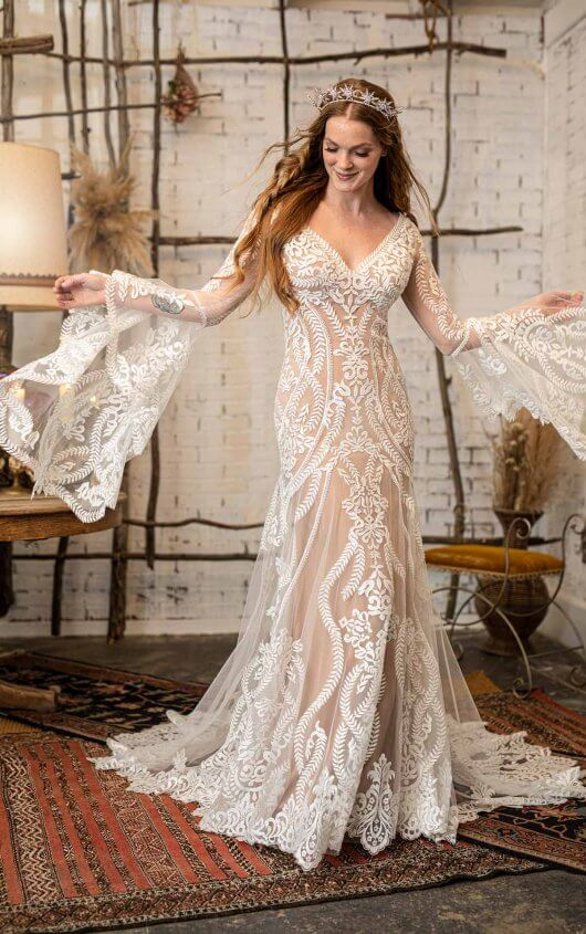 GYPSY INSPIRED WEDDING DRESS WITH FLARED BELL SLEEVES by All Who Wander - Image 1