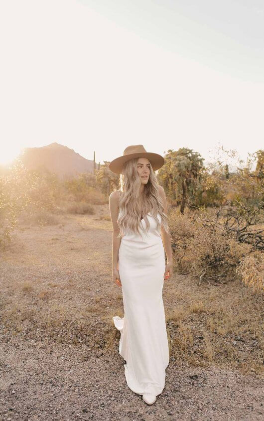 MODERN SLIP WEDDING DRESS WITH SHOESTRING STRAPS by All Who Wander - Image 1