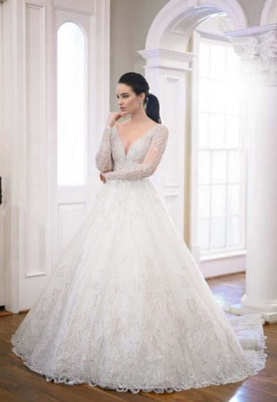 Silver Bead-encrusted Princess Ball Gown by Martina Liana Luxe