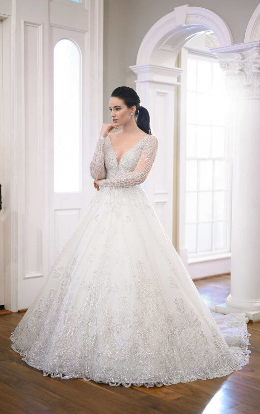 Silver Bead-encrusted Princess Ball Gown by Martina Liana Luxe - Image 1