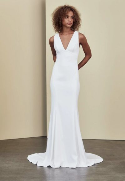 Sleeveless V-neck Sheath Wedding Dress by Nouvelle Amsale