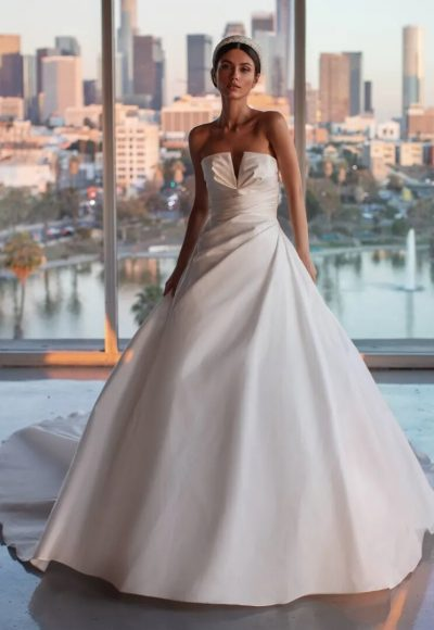 A-line Wedding Dress, Draping And Open Back by Pronovias