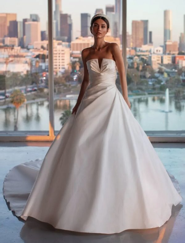 A-line Wedding Dress, Draping And Open Back by Pronovias - Image 1