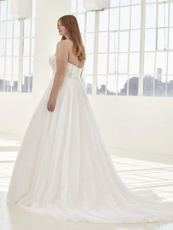 A-line Wedding Dress In Embroidered Tulle With Open Back by Pronovias - Image 2