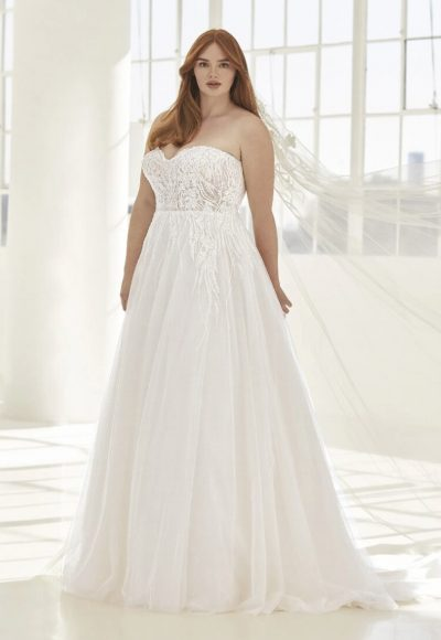 A-line Wedding Dress In Embroidered Tulle With Open Back by Pronovias