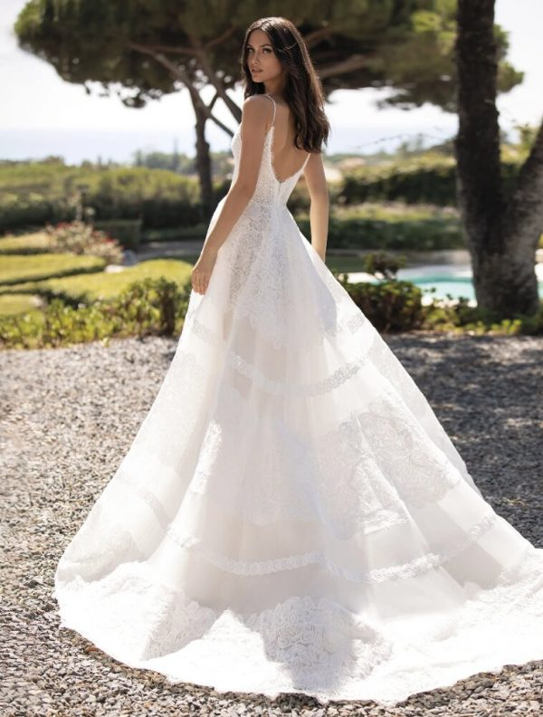Cinderella Dress With Spaghetti Straps In Embroidered Tulle by Pronovias - Image 2