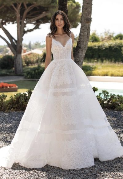 Cinderella Dress With Spaghetti Straps In Embroidered Tulle by Pronovias