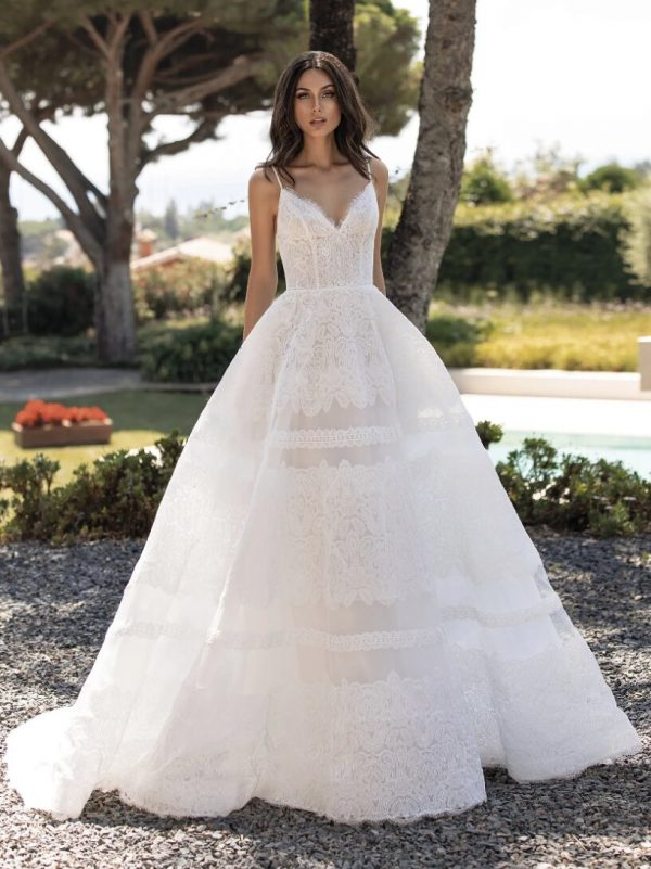 Cinderella Dress With Spaghetti Straps In Embroidered Tulle by Pronovias - Image 1