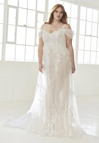 Flared Wedding Dress With Straps In Embroidered Tulle by Pronovias