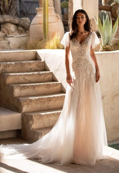 Flared Wedding Dress With V-neck And Tattoo-effect Back In Embroidered Tulle by Pronovias