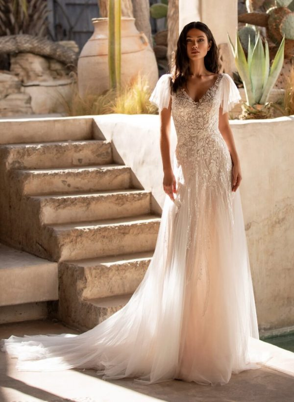 Flared Wedding Dress With V-neck And Tattoo-effect Back In Embroidered Tulle by Pronovias - Image 1