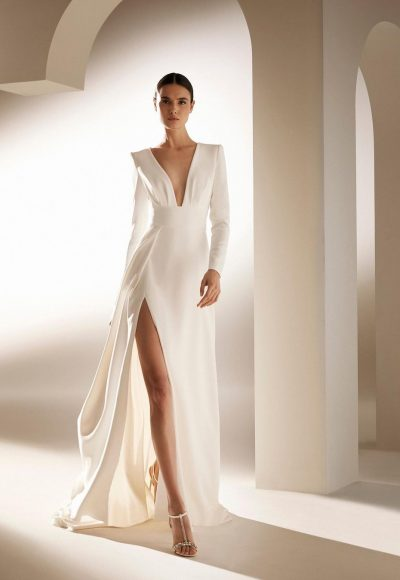 Long-sleeved, A-line Wedding Dress With V-neckline by Pronovias