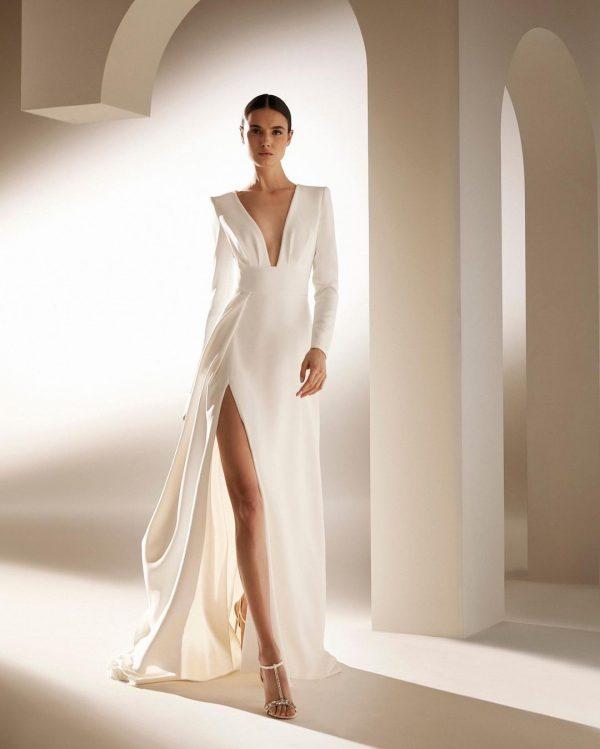 Long-sleeved, A-line Wedding Dress With V-neckline by Pronovias - Image 1