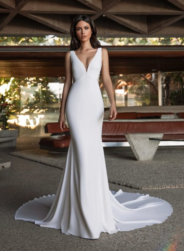 Mermaid Wedding Dress In Crepe With V-neck by Pronovias - Image 1