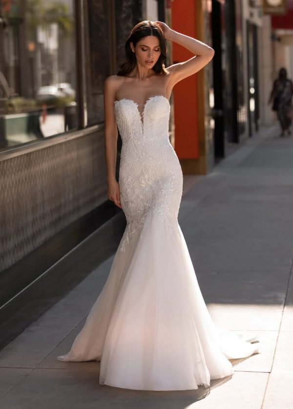 Mermaid Wedding Dress In Embroidered Tulle With Sweetheart Neckline And Open Back by Pronovias - Image 1