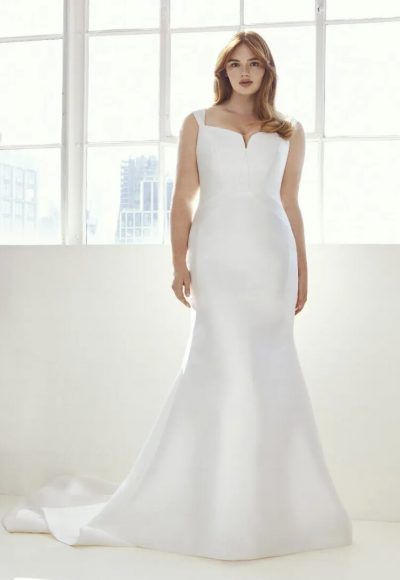 Mermaid Wedding Dress In Mikado With Square Neckline by Pronovias