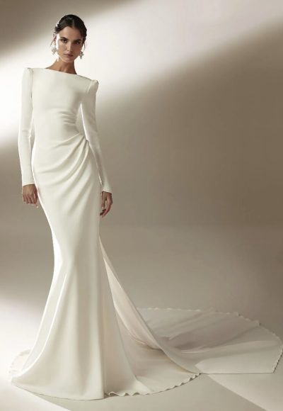 Mermaid Wedding Dress With Bateau Neckline And Long Sleeves In Crepe by Pronovias