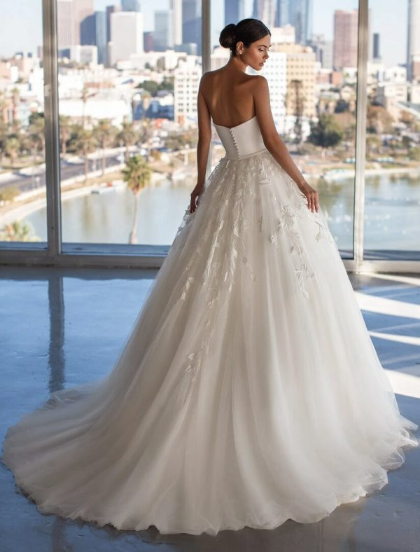 Princess Wedding Dress With Strapless Neckline And Open Back by Pronovias - Image 2
