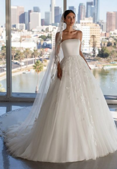 Princess Wedding Dress With Strapless Neckline And Open Back by Pronovias