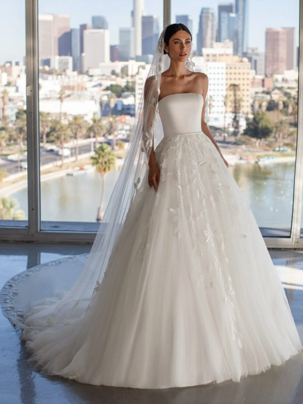 Princess Wedding Dress With Strapless Neckline And Open Back by Pronovias - Image 1