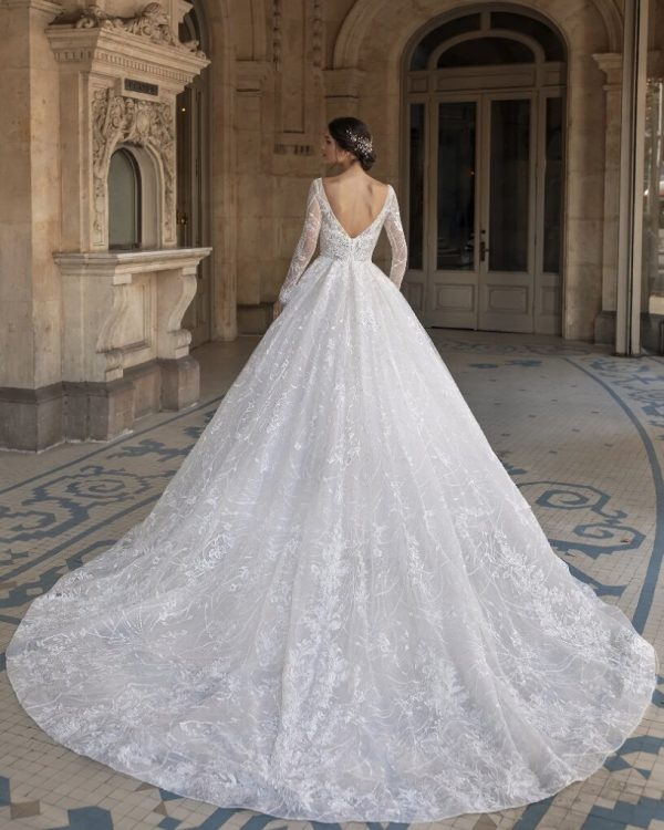Princess Wedding Dress With V-neck And Long Sleeves In Embroidered Tulle by Pronovias - Image 2