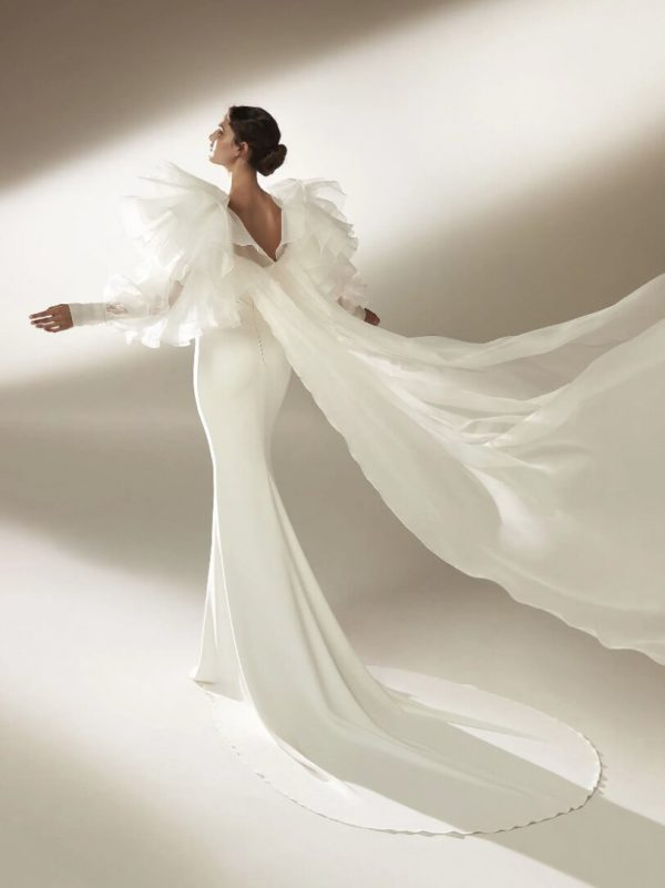 Sheath Wedding Dress With Draping In Crepe by Pronovias - Image 2