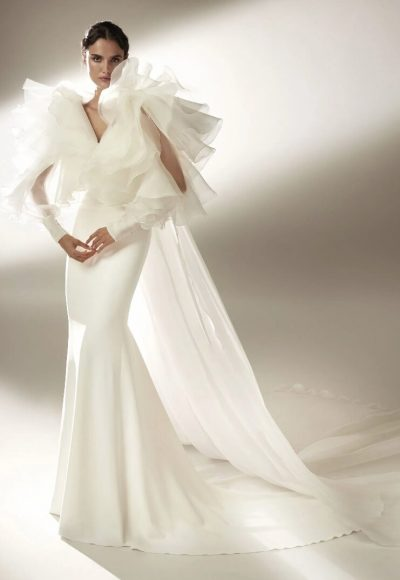 Sheath Wedding Dress With Draping In Crepe by Pronovias
