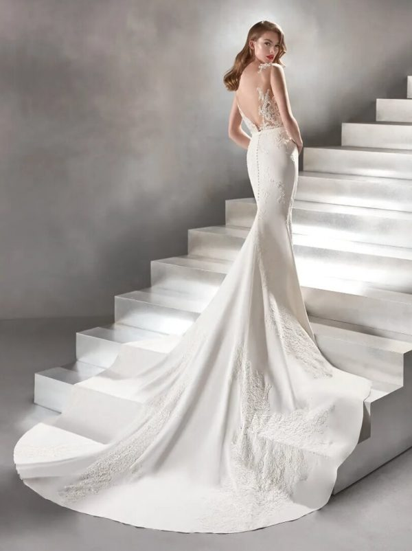 Sleeveless Mermaid Crepe Wedding Dress by Pronovias - Image 2